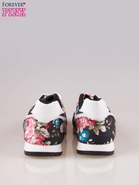 Czarne kwiatowe buty sportowe w stylu casual                                  zdj.                                  3