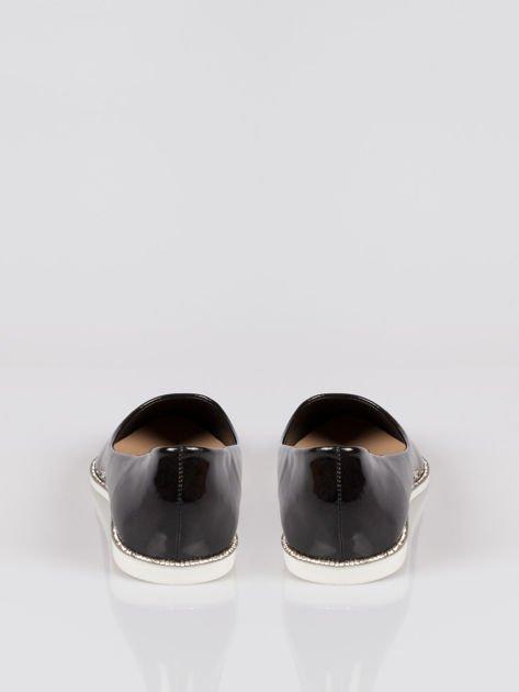 Czarne lakierowane baleriny faux polish leather z metalicznym otokiem                                  zdj.                                  3