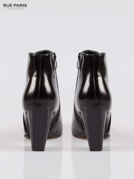 Czarne lakierowane klasyczne botki damskie na stożkowym obcasie                                  zdj.                                  3