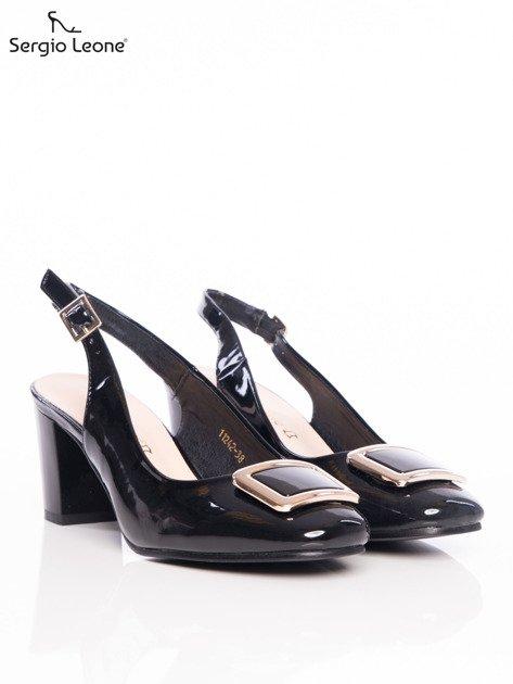Czarne lakierowane sandały Sergio Leone z ozdobną złotą blaszką na przodzie                                  zdj.                                  2