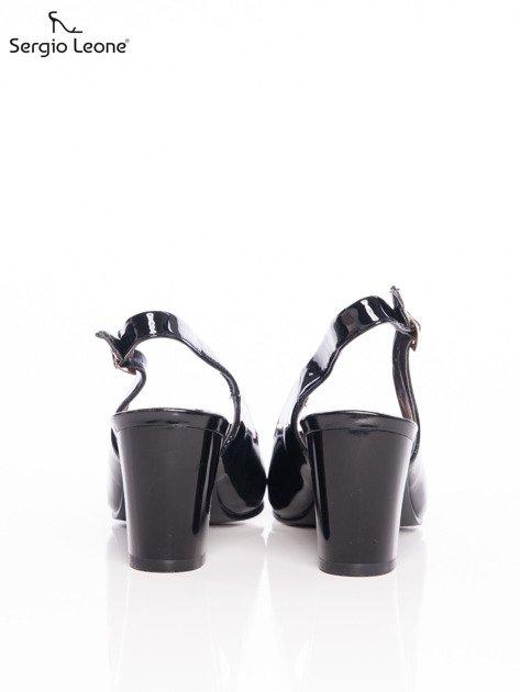 Czarne lakierowane sandały Sergio Leone z ozdobną złotą blaszką na przodzie                              zdj.                              3
