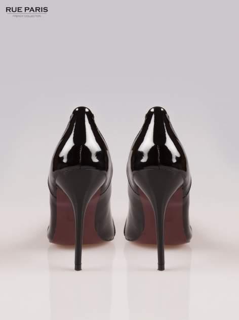 Czarne lakierowane szpilki z czubkiem w szpic                                  zdj.                                  3