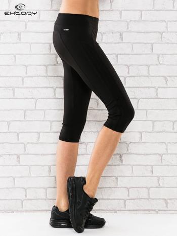 Czarne legginsy 3/4 sportowe termalne z lampasami                                  zdj.                                  2