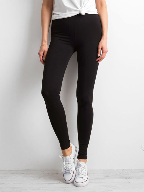Czarne legginsy damskie basic                              zdj.                              1