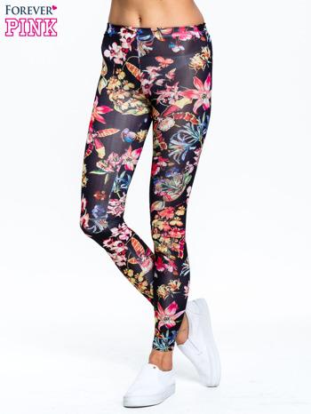Czarne legginsy w kwiaty                                  zdj.                                  1