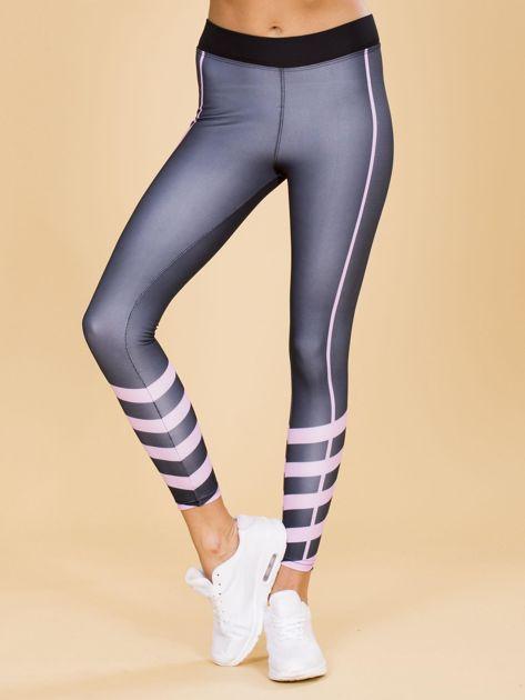 Czarne legginsy z kolorowymi modułami                              zdj.                              1