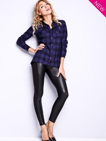 Czarne legginsy z łączonych materiałów                                  zdj.                                  2