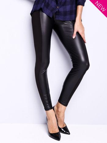 Czarne legginsy z łączonych materiałów