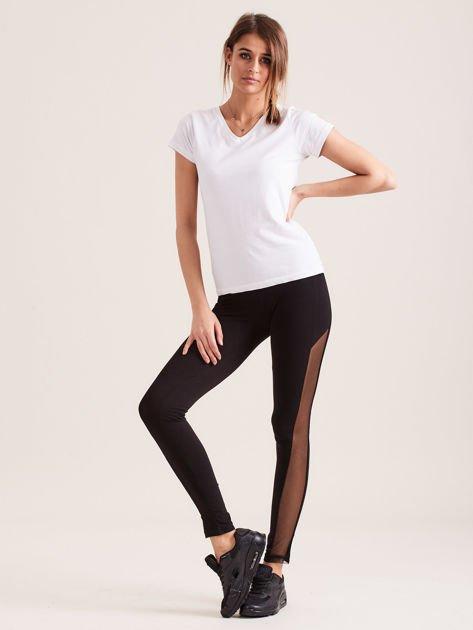 Czarne legginsy z siateczkowymi modułami                               zdj.                              4