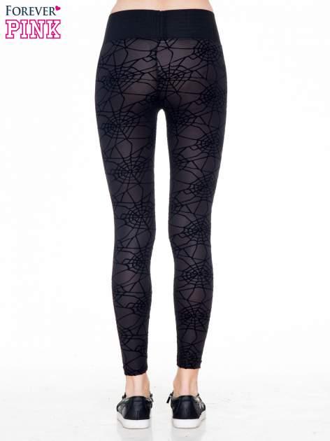 Czarne legginsy z wysokim pasem z nadrukiem pajęczej sieci                                  zdj.                                  4