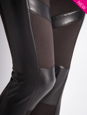 Czarne legginsy ze skórzanymi przeszyciami                                  zdj.                                  6