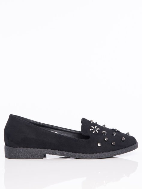 Czarne lordsy na klocku z głębszą cholewką i ozdobnymi kamieniami na przodzie buta                              zdj.                              1