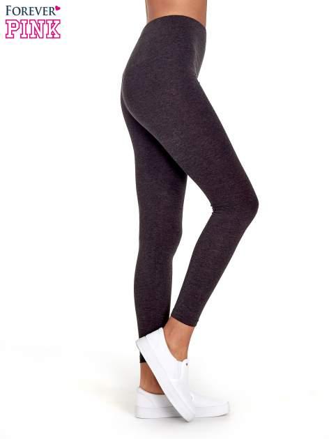 Czarne melanżowe legginsy damskie basic                                  zdj.                                  3