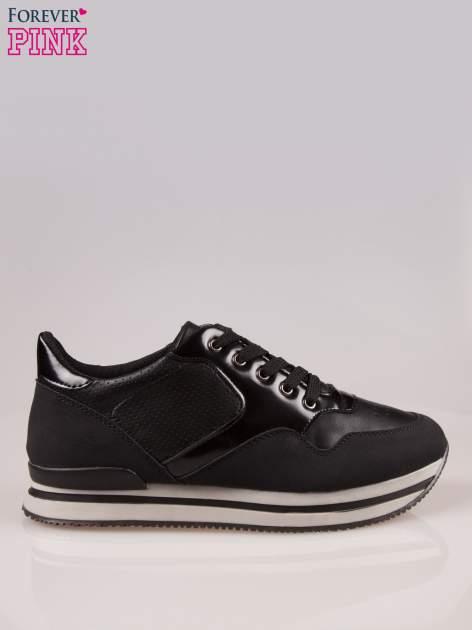 Czarne miejskie buty sportowe na warstwowej podeszwie                                  zdj.                                  1