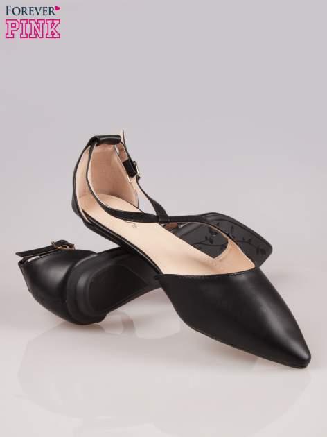 Czarne odkryte baleriny wiązane w kostce                                  zdj.                                  4