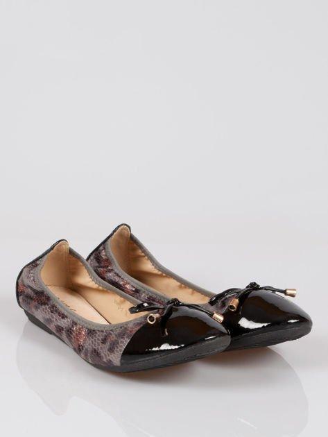 Czarne panterkowe balerinki faux leather Wild na gumkę                                  zdj.                                  2