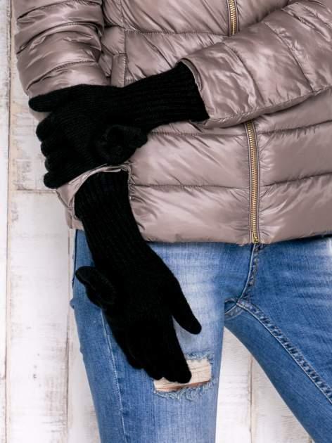Czarne rękawiczki z kokardką i długim ściągaczem                                  zdj.                                  3