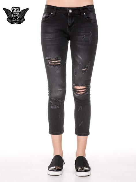 Czarne rozjaśniane spodnie jeansowe 7/8 z rozdarciami                              zdj.                              5
