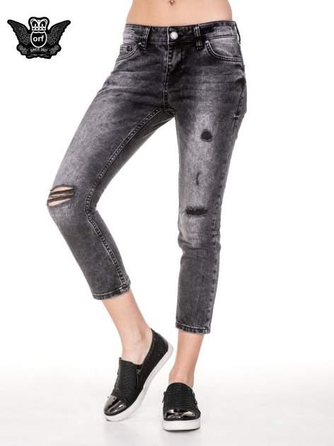 Czarne rozjaśniane spodnie jeansowe 7/8 z rozdarciami                                  zdj.                                  1
