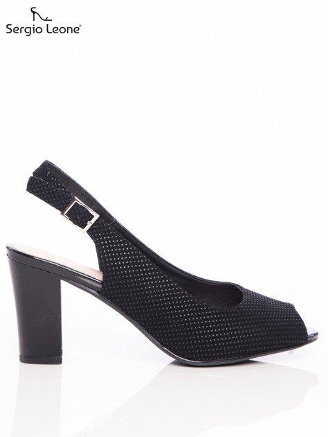 Czarne sandały Sergio Leone w tłoczone kropeczki                                  zdj.                                  1