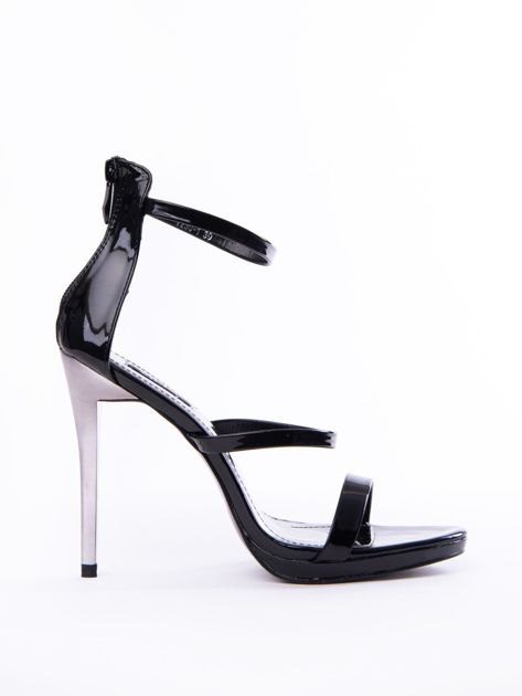 Czarne sandały na szpilkach z suwakiem na tyle cholewki