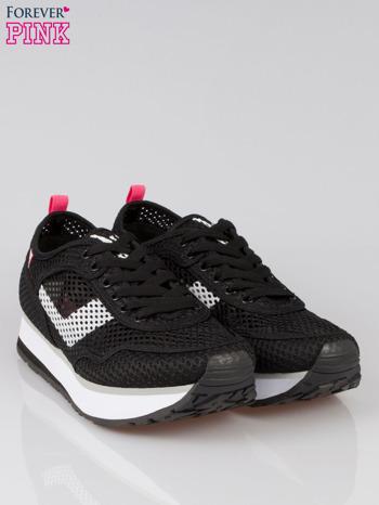 Czarne siateczkowe buty sportowe textile High Level na platformie                                  zdj.                                  2