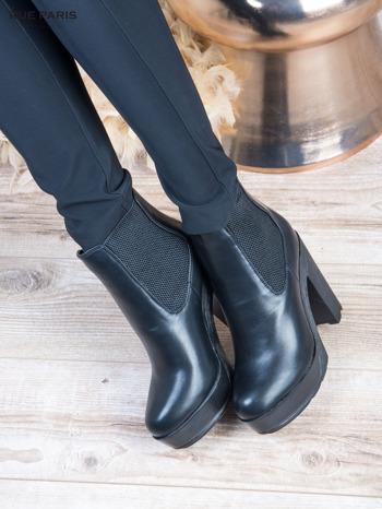 Czarne skórzane botki na wysokim słupku z gumkami po bokach                                  zdj.                                  4