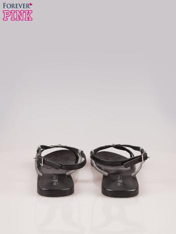 Czarne skórzane sandały ze srebrnymi kwiatami                                  zdj.                                  3