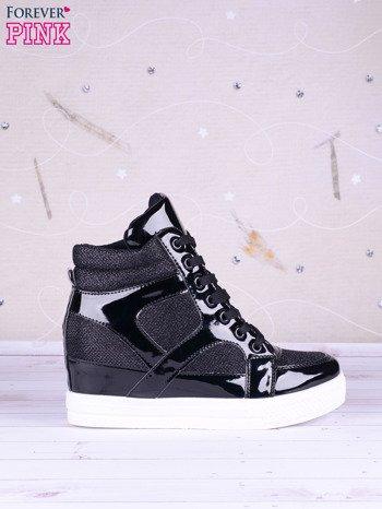 Czarne sneakersy Vice z błyszczącego materiału i lakierowanymi wstawkami