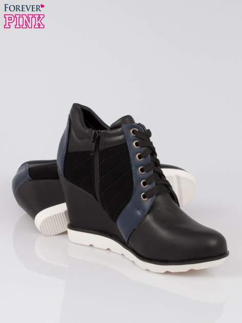 Czarne sneakersy damskie na traktorowej podeszwie                                  zdj.                                  4