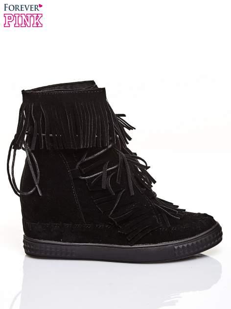 Czarne sneakersy damskie z frędzlami                                  zdj.                                  1
