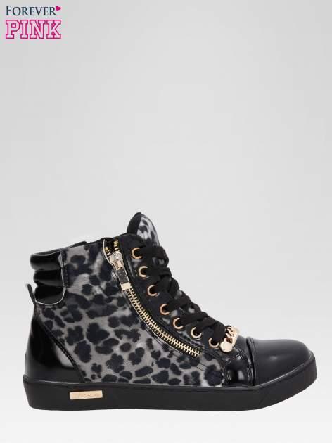 Czarne sneakersy damskie z motywem panterki                                  zdj.                                  1