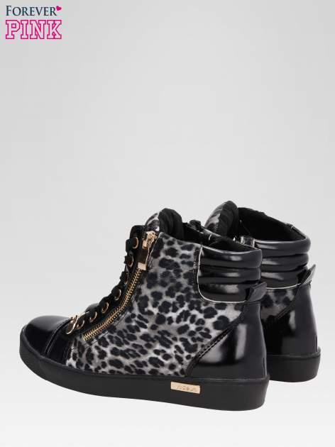 Czarne sneakersy damskie z motywem panterki                                  zdj.                                  5
