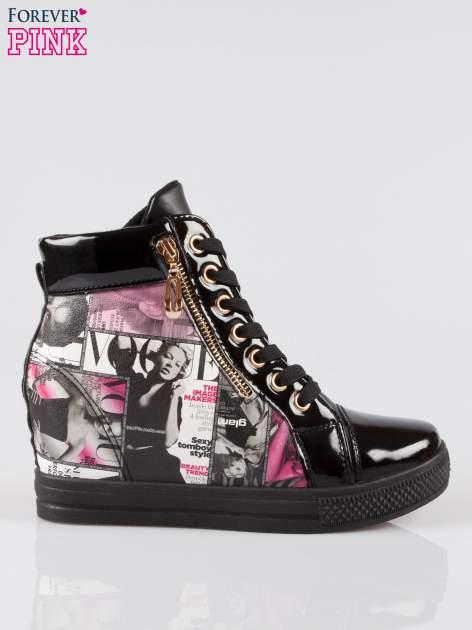 Czarne sneakersy damskie z nadrukiem magazine print