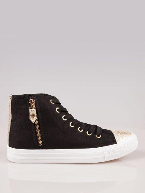 Czarne sneakersy gold cap toe z suwakiem z boku