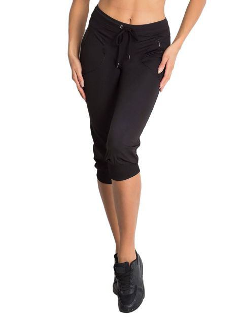 Czarne spodnie capri z kieszonką                                   zdj.                                  6