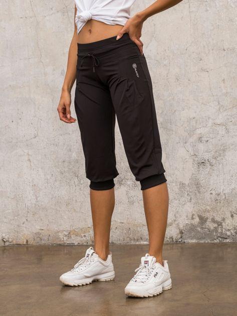 Czarne spodnie capri z wiązaniem                                  zdj.                                  6