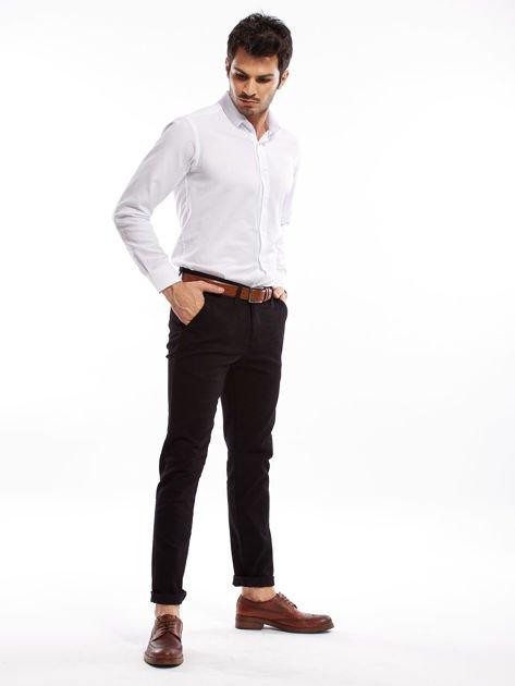 Czarne spodnie męskie chinosy o prostym kroju                              zdj.                              8
