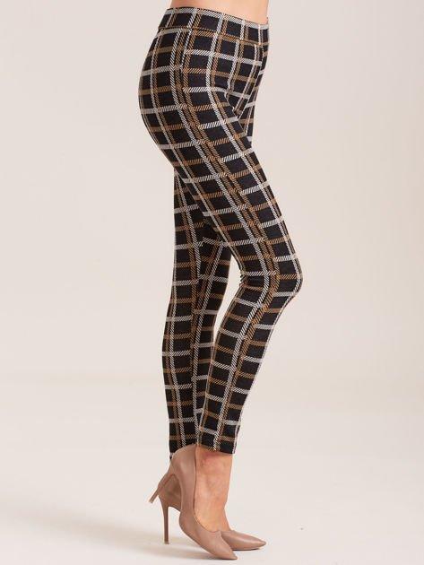 Czarne spodnie we wzór kraty                              zdj.                              3