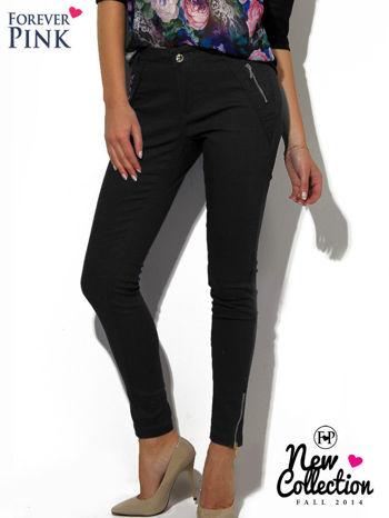 Czarne spodnie ze srebrnymi suwakami                                  zdj.                                  1