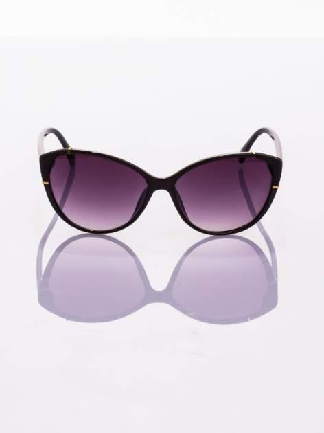Czarne stylowe KOCIE OCZY okulary przeciwsłoneczne ze złotymi elementami                                  zdj.                                  2