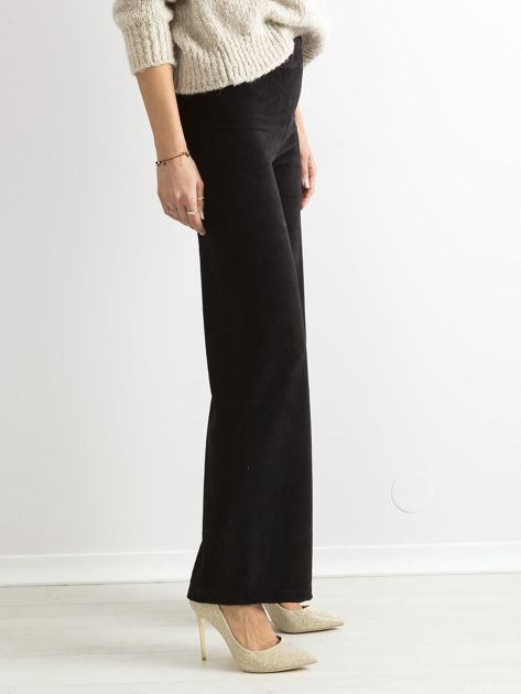 Czarne szerokie spodnie sztruksowe                              zdj.                              3