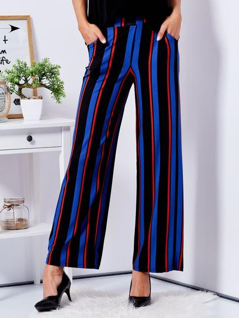 Czarne szerokie spodnie w paski                              zdj.                              1