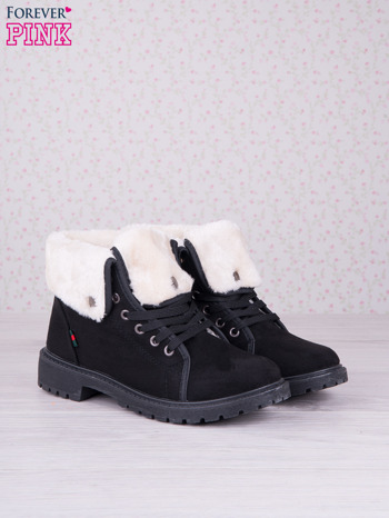 Czarne sznurowane botki eco leather Chill z futrzanym kołnierzem i krótką cholewką                                  zdj.                                  2