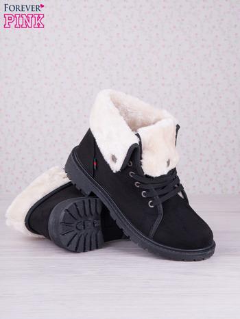 Czarne sznurowane botki eco leather Chill z futrzanym kołnierzem i krótką cholewką                                  zdj.                                  3