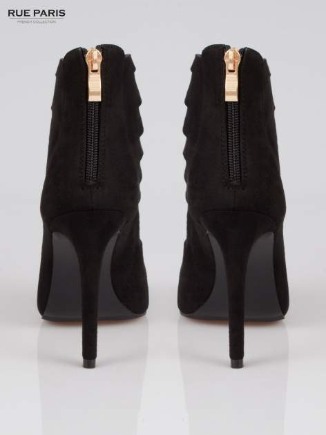 Czarne sznurowane botki lace up z zamkiem                                  zdj.                                  3
