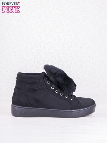 Czarne sznurowane sneakersy Keris z zamszu z perłową podeszwą