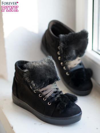 Czarne sznurowane sneakersy Keris z zamszu z perłową podeszwą                                  zdj.                                  1