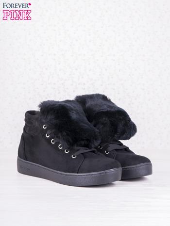 Czarne sznurowane sneakersy Keris z zamszu z perłową podeszwą                                  zdj.                                  3