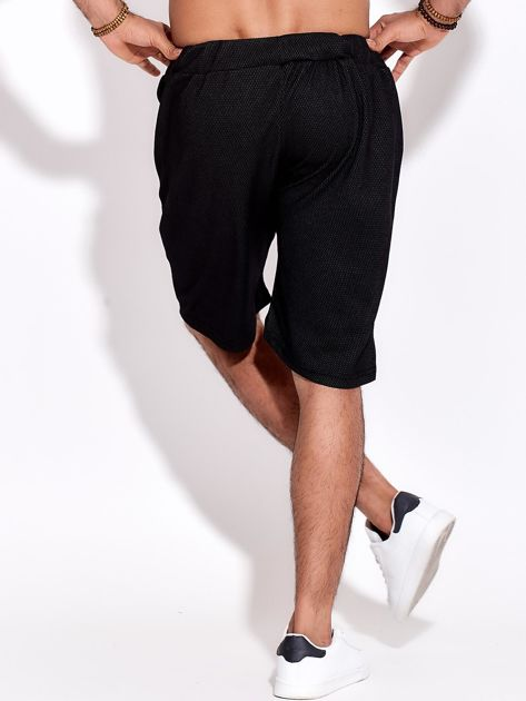 Czarne szorty męskie bawełniane z kieszeniami i trokami                              zdj.                              2